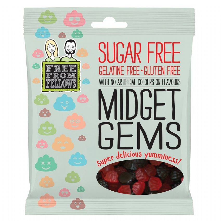 Midget Gems - Sugar Gelatin Gluten Free Jellies Sweets Free From Fellows 100g
